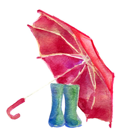 watercolor sketch of pair rain boots and red umbrella isolated on white background