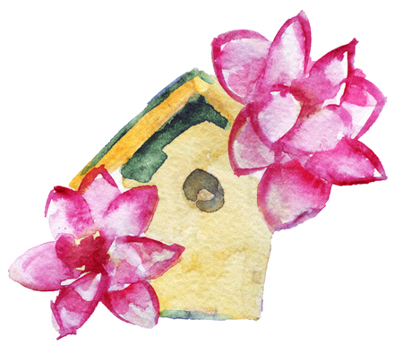 watercolor sketch of birdhouse with flowers isolated on white background Stock Photo