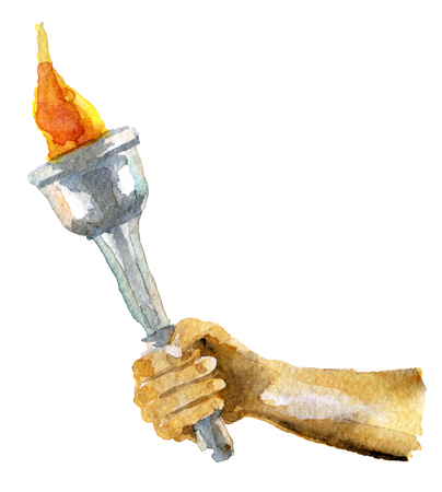watercolor sketch of torch isolated on white background Stock Photo