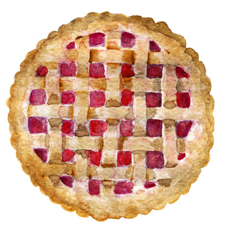 watercolor sketch of pie with berries isolated on white background