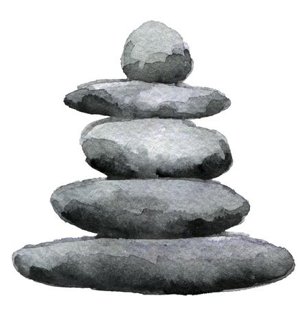 白い背景に分離されたバランスの取れた石造りのピラミッドの水彩スケッチ