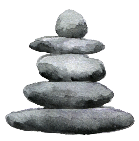 watercolor sketch of balanced stone pyramid isolated on white background