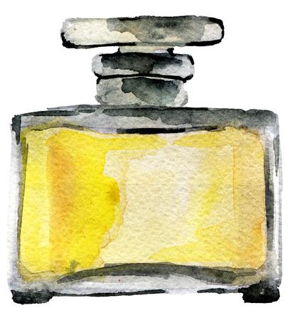 schizzo dell'acquerello della bottiglia di profumo isolato su priorità bassa bianca