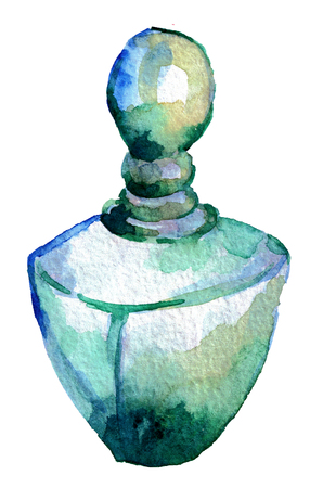 watercolor sketch of perfume bottle isolated on white background