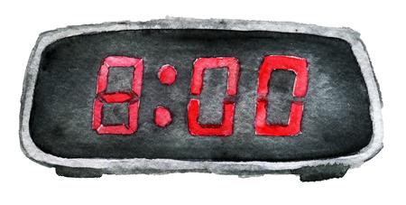 aquarel schets van digitale klok geïsoleerd op een witte achtergrond Stockfoto
