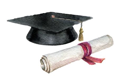 schizzo dell'acquerello del cappuccio studente e diploma isolato su sfondo bianco