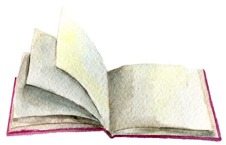 흰 배경에 고립 된 오픈 책의 수채화 스케치 스톡 콘텐츠
