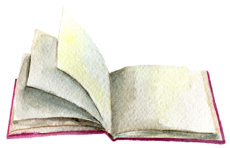 aquarel schets van open boek geïsoleerd op een witte achtergrond Stockfoto