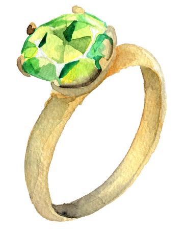 흰색 배경에 고립 된 다이아몬드와 반지의 수채화 스케치