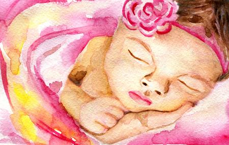 aquarel schets van slaap baby meisje Stockfoto