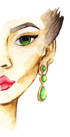 Aquarel schets van vrouwelijk gezicht. Mode illustratie. Geïsoleerd op een witte achtergrond Stockfoto