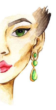 earrings: watercolor sketch of woman face. Fashion illustration. Isolated on white background