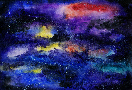 watercolor sketch of night sky with stars Stock Photo