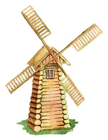 aquarel schets van houten molen