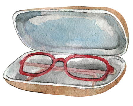 watercolor sketch of eye glasses case isolated on white background