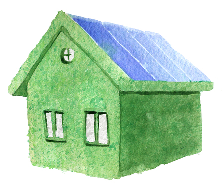 Aquarel schets van groene eco huis geïsoleerd op een witte achtergrond