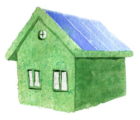 Aquarel schets van groene eco huis geïsoleerd op een witte achtergrond Stockfoto - 79761023