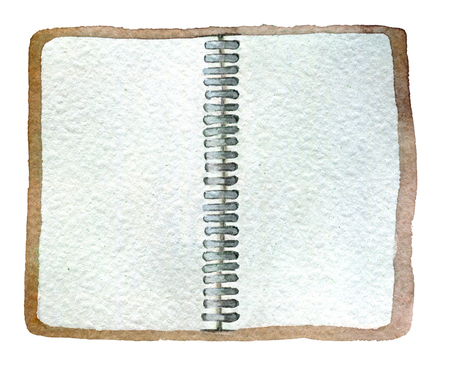 waterverfschets van open die blocnote op witte achtergrond wordt geïsoleerd