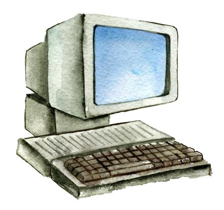 aquarel schets van oude computer geïsoleerd op een witte achtergrond