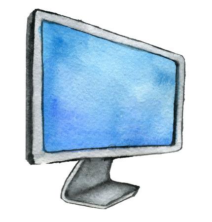 waterverfschets van computermonitor op witte achtergrond wordt geïsoleerd die