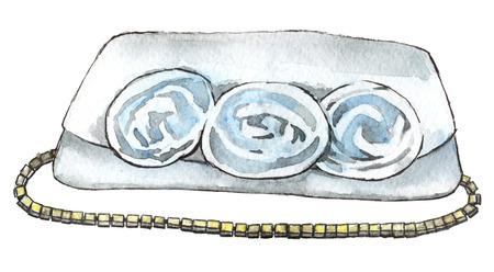 aquarel schets van witte clucth geïsoleerd op een witte achtergrond