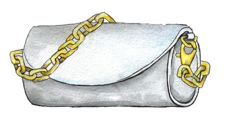 aquarel schets van witte koppeling met gouden ketting geïsoleerd op een witte achtergrond