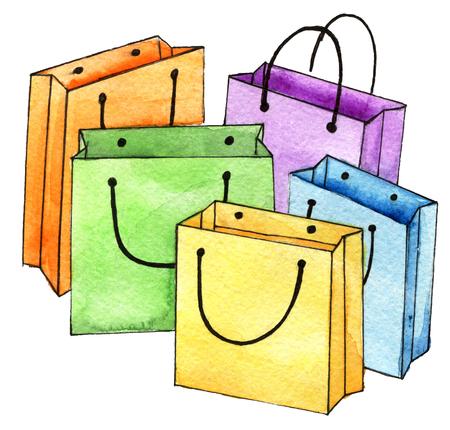 aquarel schets van set van kleurrijke lege boodschappentassen geïsoleerd op een witte achtergrond