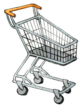 aquarel schets van lege supermarkt boodschappenwagentje geïsoleerd op een witte achtergrond Stockfoto