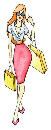 aquarel schets van het winkelen vrouw geïsoleerd op een witte achtergrond Stockfoto