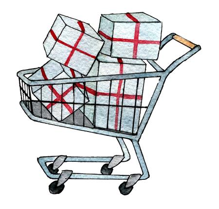 aquarel schets van boodschappenwagentje met huidige doos geïsoleerd op een witte achtergrond