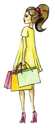 aquarel schets van jonge vrouw met boodschappentassen geïsoleerd op een witte achtergrond