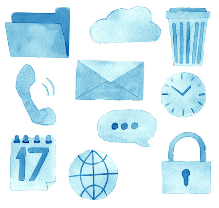 Aquarel schets van premium kwaliteit iconen set van sociale media-inhoud plaatsen en bloggen en website geïsoleerd op een witte achtergrond Stockfoto
