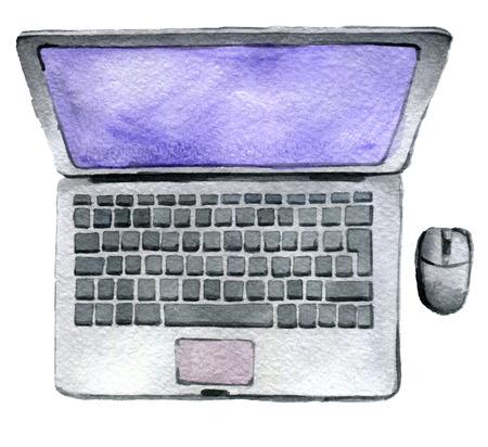 aquarel schets van laptop met computer muis geïsoleerd op een witte achtergrond