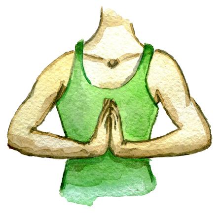 aquarel schets van vrouw in de gebed positie geïsoleerd op een witte achtergrond Stockfoto