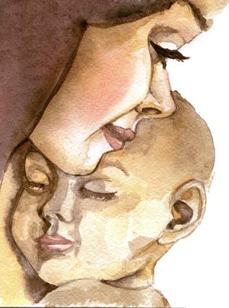 aquarel schets van jonge moeder die haar pasgeboren kind houdt dat op een witte achtergrond wordt geïsoleerd Stockfoto