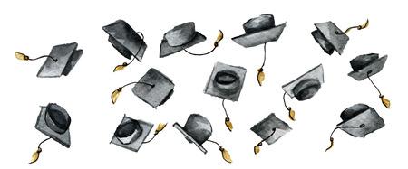 aquarel schets van het afstuderen van afstuderen hoeden geïsoleerd op een witte achtergrond