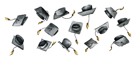 watercolor sketch of throwing graduation hats isolated on white background Stock Photo