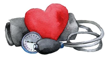 aquarel schets van medische tonometer met hart geïsoleerd op een witte achtergrond Stockfoto