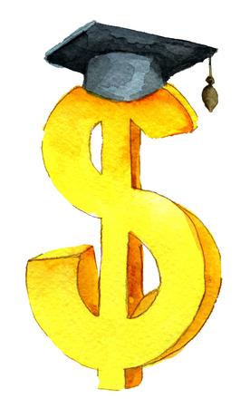 aquarel schets van gouden dollar teken met graduatie hoed geïsoleerd op een witte achtergrond