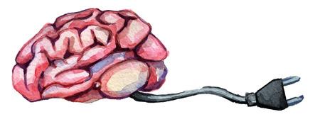 Aquarel schets van conceptueel beeld menselijke hersenen lading voor macht geïsoleerd op een witte achtergrond