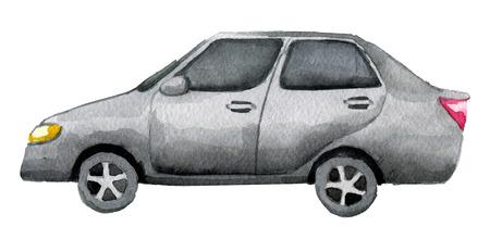 aquarel schets van auto geïsoleerd op een witte achtergrond Stockfoto