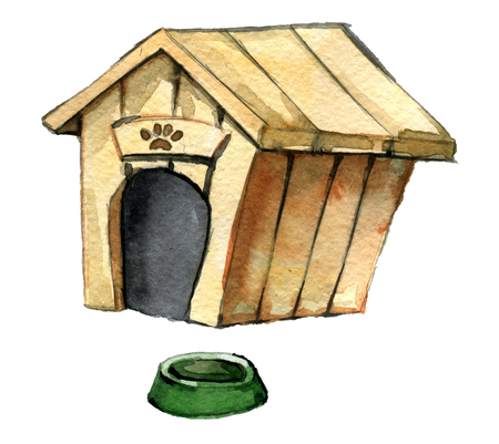 watercolor sketch of dog house with dish for dog isolated on white background