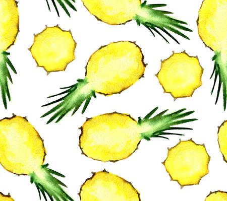 Waterverf naadloos patroon met ananas geïsoleerd op een witte achtergrond