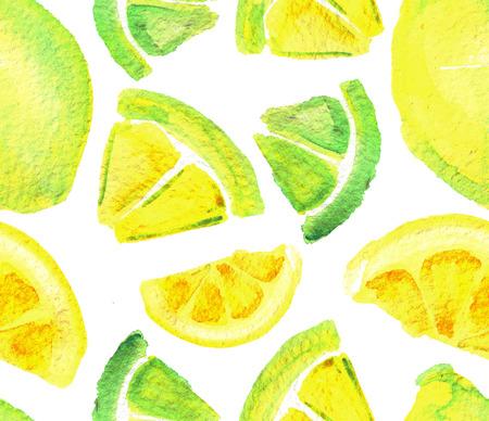 Waterverf naadloos patroon met citroenen geïsoleerd op een witte achtergrond