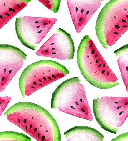 Waterverf naadloos patroon met watermeloen geïsoleerd op een witte achtergrond Stockfoto