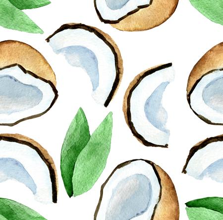 aquarel naadloze patroon met kokosnoot geïsoleerd op een witte achtergrond Stockfoto