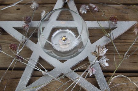 Wiccan symbols for divination ritual, crystal ball and pentagram