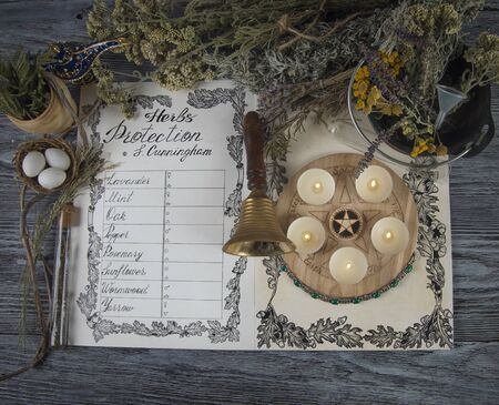 Wiccan Book of Shadows with classic protection spells. Herbal ingredients prepared for ritual