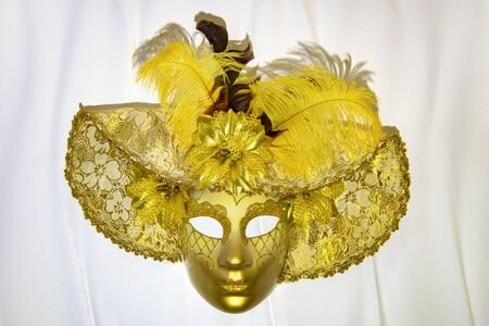 Venetian mask on white background Фото со стока