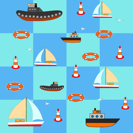 frigate: vector illustration of sea subjects with ships, yachts, round, buoy, seagulls. Fabric or wallpaper.